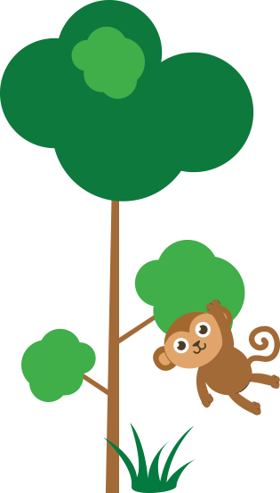 Image of Cartoon Monkey Hanging From Tree