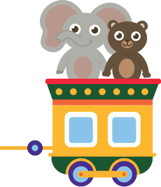 Image of a cute elephant and bear in a train