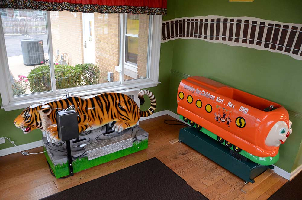 Try out the fun rides in our waiting room